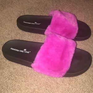 Pink fuzzy sandals